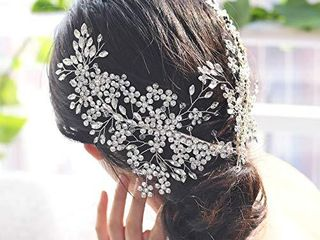 UlAPAN 2 Pack Bride Wedding Headbands  Rhinestone Bridal Bridesmaid Hair Clips Accessories  Flower Girls Headpieces for Women