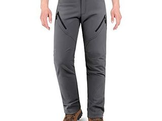 KUTOOK Winter Water Resistant Hiking Pants Thermal Fleece lined Softshell Cargo Ski Snow Pants with 6 Pockets Grey XX large