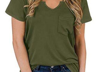NIASHOT Women s V Neck T Shirt Short Sleeve Tops loose Fitting Army Green l