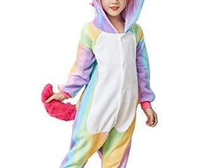 Kids Unicorn Cosplay Costumes Unisex Child Animal Pajamas Rainbow 4 6 T