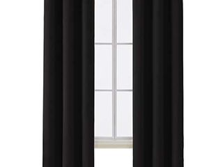 Deconovo Room Darkening Thermal Insulated Blackout Grommet Window Curtain for Bedroom  Black 42x84 1 Panel