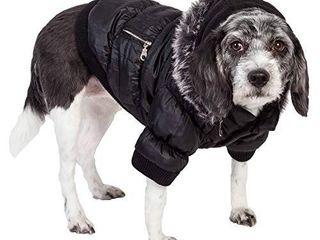PET lIFE Classic Metallic Fashion Pet Dog Coat Jacket Parka w  3M Insulation and Removable Hood  X large  Metallic Black