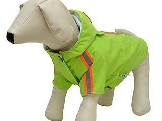 lovelonglong Fashion Hooded Pet Dog Raincoat  lightweight Dog Rain Jacket Zipper Closure Rain Poncho with Reflective Strip for Small Medium large Dogs Green l