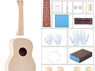 DIY Ukulele Kit with Installation Tools Wooden Small Hawaiian Guitar Ukalalee for Kids Students Beginners 21