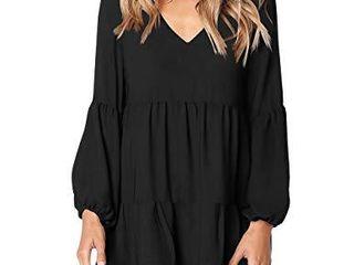 FOWSMON Women long Sleeve Casual V Neck loose Swing Tunic Shift Dress Black l