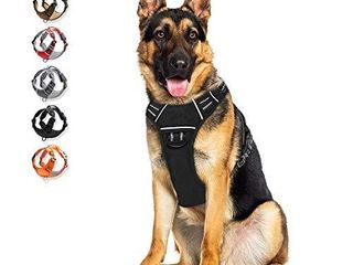 Dog Harness No Pull Reflective  WAlKTOFINE Comfortable Harness with Handle Fully Adjustable Pet leash Vest for large Dog Breed Car Seat Harness Black Xl