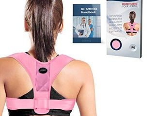 Doctor Developed Posture Support Posture Correct Stabilizer Back Brace   Doctor Written Handbook   Fully Adjustable for Upper   lower Back Pain   Support  Suitable for Men   Women  Pink  Medium