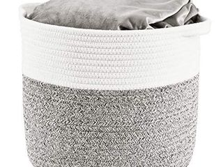 HITSlAM Woven Rope Basket with Handles  Collapsible laundry Basket  Cotton Storage Basket for Towels Blanket Toys  Gray    l