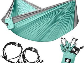 legit Camping   Double Hammock   lightweight Parachute Portable Hammocks for Hiking   Travel   Backpacking   Beach   Yard   Gear Includes Nylon Straps   Steel Carabiners  Graphite Seagreen
