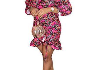 Ophestin Women Sexy Off Shoulder Floral Print Puff Short Sleeve Bodycon Pleated Ruffle Hem Party Mini Dress Rosy XXl