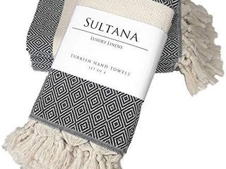 Sultana luxury linens   Turkish Hand Towels Set of 4   100  Organic Cotton   Decorative Kitchen and Bathroom Hand Towel for Tea  Face  Hair  Dish  Spa  and Bath  19 x 39 Inches