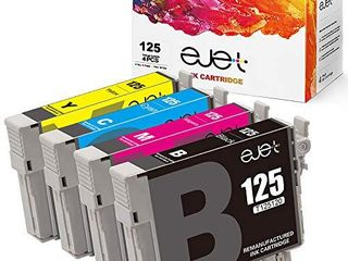 ejet Remanufactured Ink Cartridge Replacement for Epson 125 T125 to use with Stylu NX230 NX625 NX125 NX127 NX130 NX230 NX420 NX530 WorkForce 520 325 320  1 Black  1 Cyan  1 Magenta  1 Yellow  4 Pack