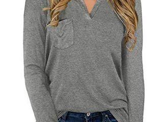NIASHOT Womens Tops long Sleeve Soft V Neck loose Fit Pocket Sweater Grey l