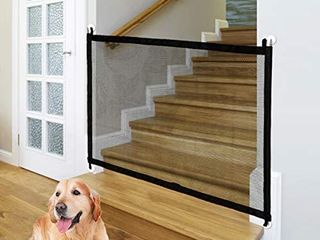 Baby Gate Magic Gate for Dogs  Indoor Outdoor Baby Gate  Portable Folding Mesh Dog Gate  Extra Wide Baby Safety Gate and Pet Gate for Stairs  Doors  Extends up to 40 4  X 29 5   Black