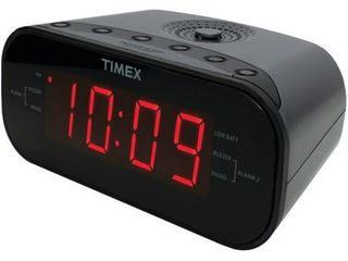Timex T231G AM FM Dual Alarm Clock Radio with 1 2 Inch Green Display and line In Jack  Gunmetal