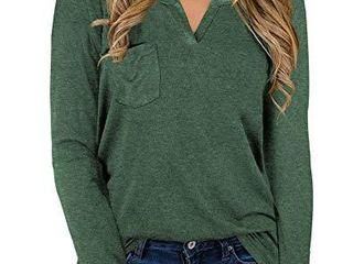 NIASHOT Womens long Sleeve V Neck Tops Fashion Pocket loose Fit Tops Green l