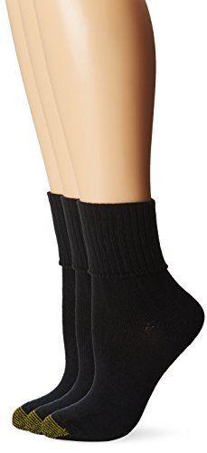 Gold Toe Women s 3 Pack Bermuda Turn Cuff Sock Black 9 11  Shoe Size 6 9