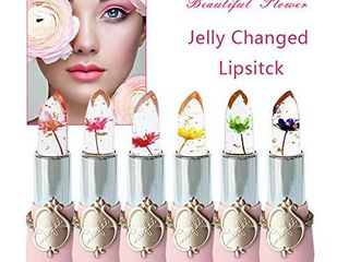 Pack of 6 Crystal Flower Jelly lipstick  FirstFly long lasting Nutritious lip Balm lips Moisturizer Magic Temperature Color Change lip Gloss  B