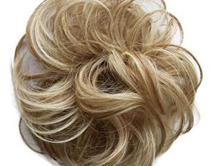 PRETTYSHOP 100  Human Hair Up Scrunchie Scrunchy Extensions Hairpiece Do Bun Ponytail Diverse Colors  blonde mix  27H613