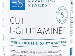 Essential Stacks Gut l Glutamine Powder Gluten  Dairy   Soy Free  Vegan  Non GMO   Hypoallergenic with 3rd Party Verified Allergen Testing   Pure Unflavored l Glutamine for Optimal Gut Health