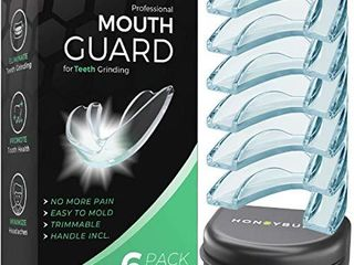 HONEYBUll Mouth Guard for Grinding Teeth  6 Pack  1 Size for light Grinding   Comfortable Custom Mold for Clenching at Night  Bruxism  Whitening Tray   Guard