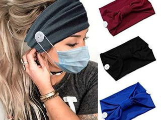 Catery Knotted Button Headband Criss Cross Head Wrap Non Slip Turban Hair Band Fashion Healthcare Ear Protection Hair Scarf Accessories for Women and Girls Pack of 3   Knotted