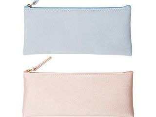EONMIR PU leather Pencil Cases Pouch Bag with Zipper Small Simple Pencil Pouches  Makeup Pouch  Cosmetic Pouch  Blue Pink