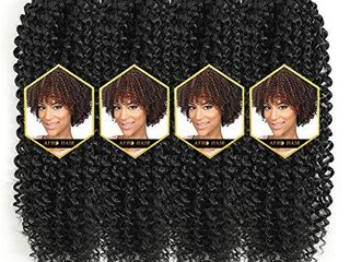 Afro 4 Packs 11 Inch Softbob Crochet Hair Jerry Curl Crochet Braiding Hair Afro Kinky Curly Twist Hair Kanekalon Synthetic Hair Extensions 24 Strands 45g Pack  11  4packs  T27