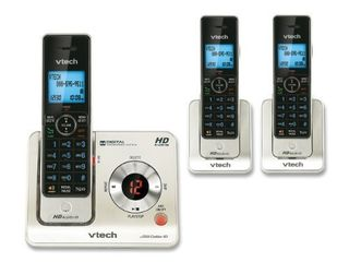 VTech lS6425 3 DECT 6 0 Expandable Cordless Phone with Answering System and Caller ID Call Waiting  Silver with 3 Handsets