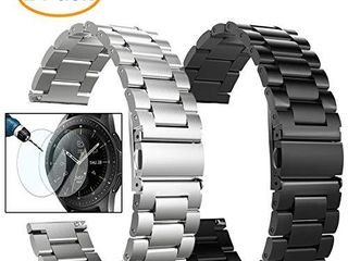 Valkit Compatible Galaxy Watch 46mm Galaxy Watch 3 45mm Bands  2 Pack 22mm Stainless Steel Solid Metal Wrist Band Business Strap   Screen Protector for Gear S3 Frontier Classic  Sliver Black