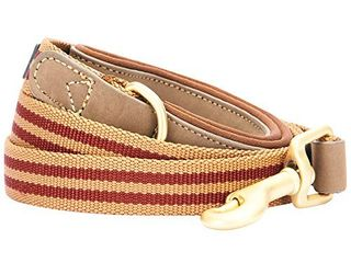 Blueberry Pet 6 Colors Polyester Fabric Webbing and Soft Genuine leather Dog leash with Soft   Comfortable Handle  6 ft x 1  Red and Brown  leashes for Dogs