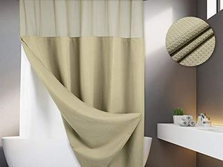 No Hooks Required Waffle Weave Shower Curtain with Snap in liner   71W x 74H Hotel Grade Spa like Bath Curtain linen