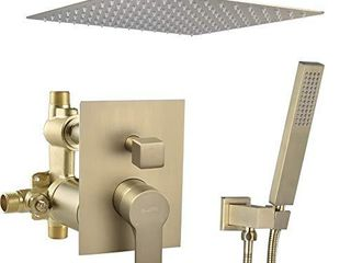 SHAMANDA Ceiling Mount Shower System  12 Inch Bathroom luxury Rain Mixer Shower Combo Set Rainfall Shower Faucet Complete Fixtures Including Rough In Valve Body and Trim  Brushed Gold  lCM701 3