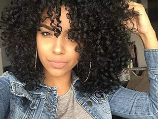 AISI HAIR Curly Afro Wig with Bangs Shoulder length Wig Curly Black Wig Afro Kinkys Curly Hair Wigs Synthetic Heat Resistant Wigs Curly Full Wigs for Black Women  Black