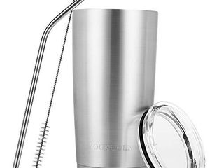 Stainless Steel Tumbler 20oz   Vacuum Insulated Tumbler Coffee Cup Double Wall large Travel Mug with lid  Straw  Brush  Silver  20oz 1 Pack