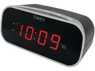 Timex T121B Alarm Clock with 0 7 Inch Red Display  Black