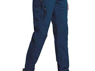 BAlEAF Women s Hiking Fleece lined Ski Pants Windproof Water Resistant Outdoor Insulated Soft Shell Deep Blue S
