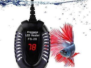 FREESEA 100W Mini Aquarium Fish Tank Heater with lED Temperature Display for Betta Fish  Frogs  Newts   Turtles