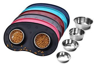 VIVAGlORY Dog Bowl Stainless Steel Cat Puppy Food and Water Bowls Dishes with Wider Non Skid Spill Proof Silicone Mat  Pink