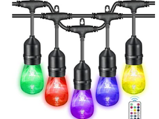 VAVOFO A COMMON RGB OUTDOORS STRING lIGHTS WITH REMOTE CONTROl   BlACK