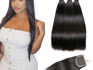 Beauhair Brazilian Straight Virgin Hair 3 Bundles With Closure Free Part  14 16 18 with 14inch  Grade 7A 100  Unprocessed Remy Human Hair Extensions  Hair Weft Weave With lace Closure  Natural Color