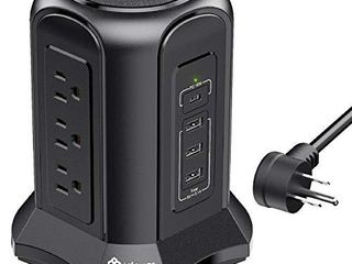 Power Strip Tower Surge Protector with USB C Port  18W  3 USB A Charging Ports  15 5W    9 AC Outlets  Desktop Charging Station Flat Plug with 10ft Extension Cord for Home Office  Overload Protected