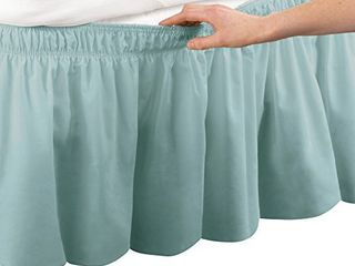 Collections Etc Wrap Around Bed Skirt  Easy Fit Elastic Dust Ruffle  Green  Queen King