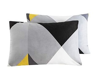 SUSYBAO 100  Cotton Pillowcases King Size Set of 2 Yellow and Grey Geometric Print Bed Pillow Covers Envelope Closure End Pillow Encasement Home Decorative Soft Comfortable Breathable  20 in x 36 in