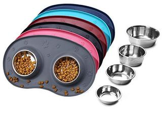 Vivaglory Puppy Bowls Stainless Steel Food and Water Bowls with Wider Non Skid Spill Proof Silicone Mat for Cats Small Dogs  Grey