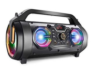 Bluetooth Speakers  30W Portable Bluetooth Boombox with Subwoofer  FM Radio  RGB Colorful lights  EQ  Stereo Sound  Booming Bass  10H Playtime Wireless Outdoor Speaker for Home  Party  Camping  Travel