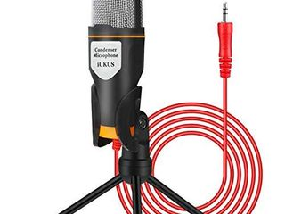 iUKUS PC Microphone with Mic Stand  Professional 3 5mm Jack Recording Condenser Microphone Compatible with PC  laptop  iPad  iPhone  Mac Recorder Singing YouTube Skype Gaming  3 5mm PC Microphone