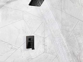 POP Shower Faucet Set with Tub Spout Oil Rubbed Bronze Bathroom luxury Rain Mixer Shower System Wall Mounted Rainfall Shower Combo Set  Single Handle Tub and Shower Trim Kit with Rough in Valve
