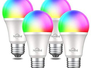 NiteBird Smart light Bulbs Works with Alexa Echo and Google Home  WiFi Dimmable Color Changing lED lights Bulbs  A19 E26 8W Warm White 2700k  75W Equivalent  No Hub Required 4 Pack