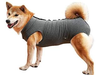 Dog Recovery Suit Abdominal Wound Protector Puppy Medical Surgical Clothes Post Operative Vest Pet After Surgery Wear Substitute E Collar   Cone  l  Grey